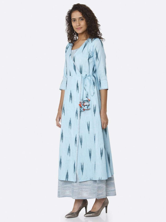 Left Side Ikkat Printed Cotton Dress With Blue Color