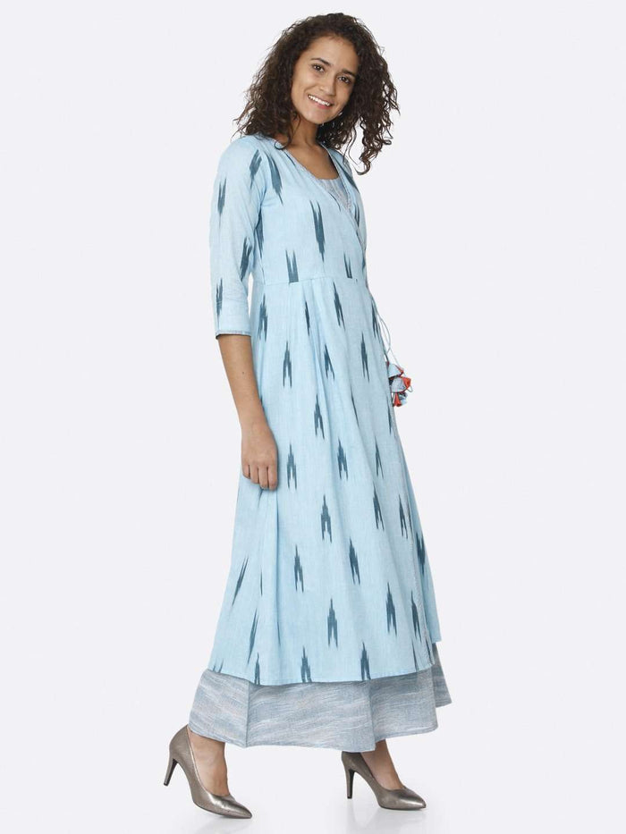 Right Side Blue Ikkat Printed Cotton Dress
