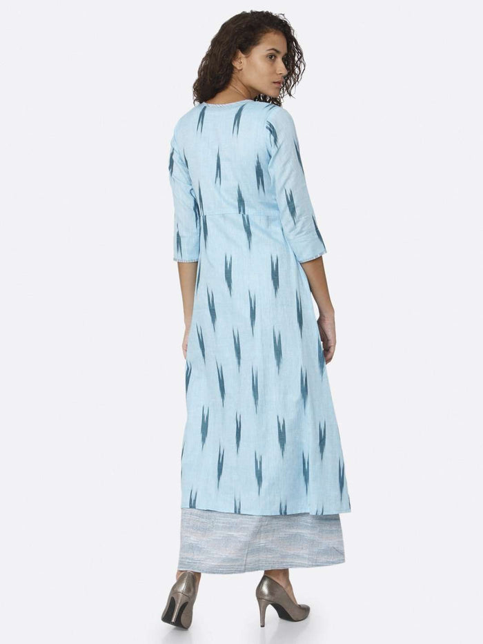 Back Side Blue Ikkat Printed Cotton Dress