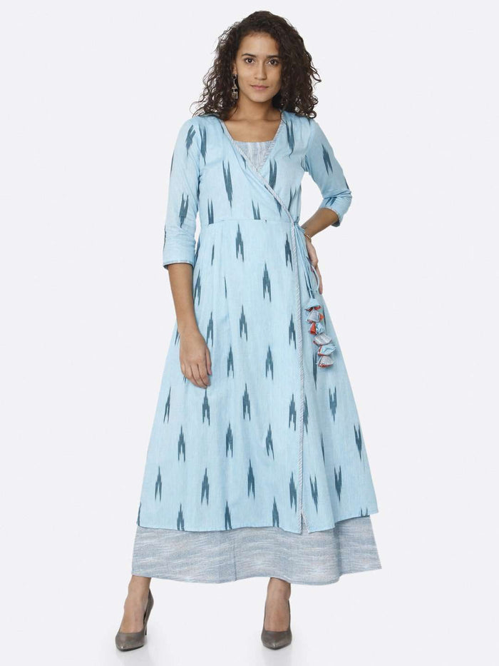 Casual Blue Ikkat Printed Cotton Dress