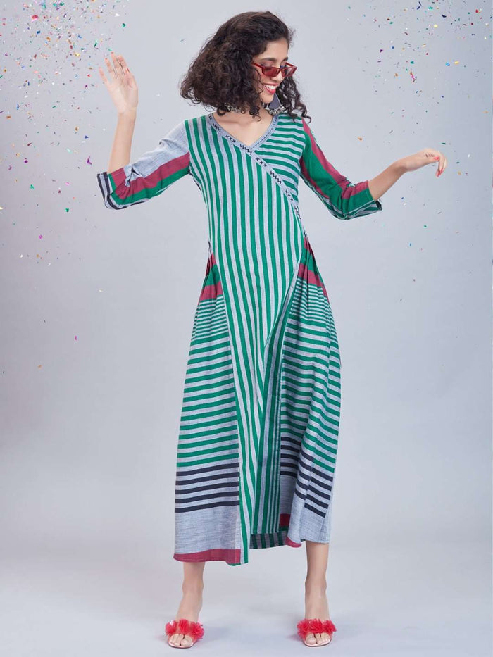 Front Side Green Printed Cotton Dress