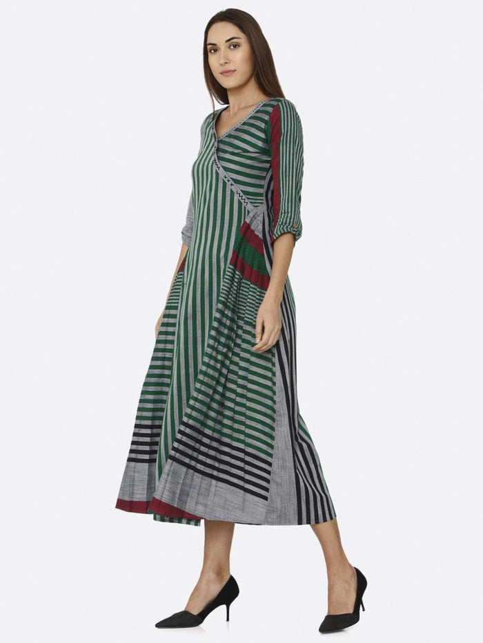 Left Side Casual Green Printed Cotton Dress