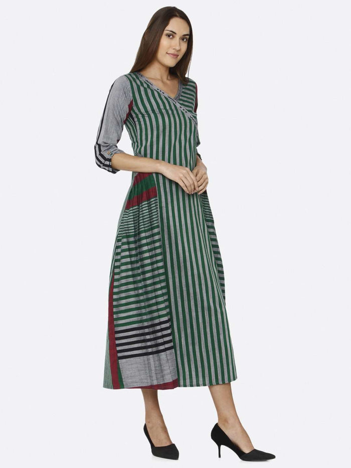 Right Side Printed Cotton Dress With Green Color