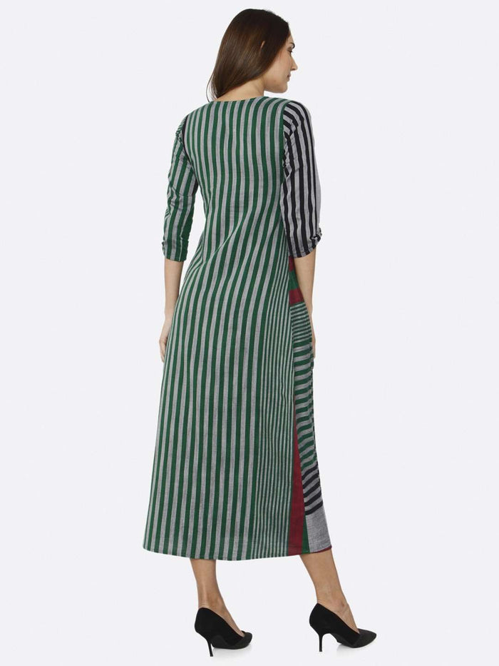 Back Side Green Printed Cotton Dress