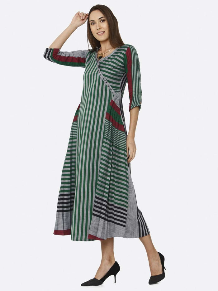 Left Side Green Printed Cotton Dress