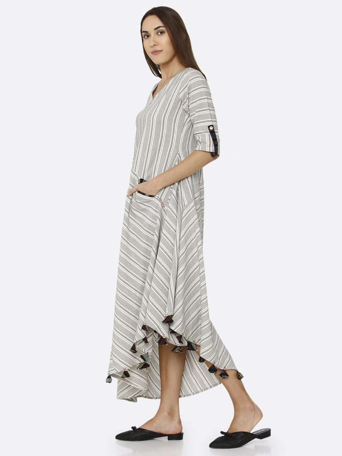 Left Side Grey Printed Cotton Weave Dress