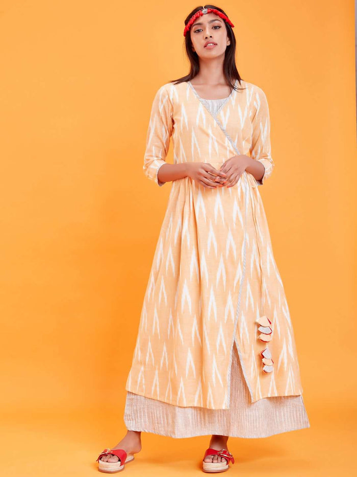 Front Side Ikat Printed Cotton Weave Dress With Yellow Color
