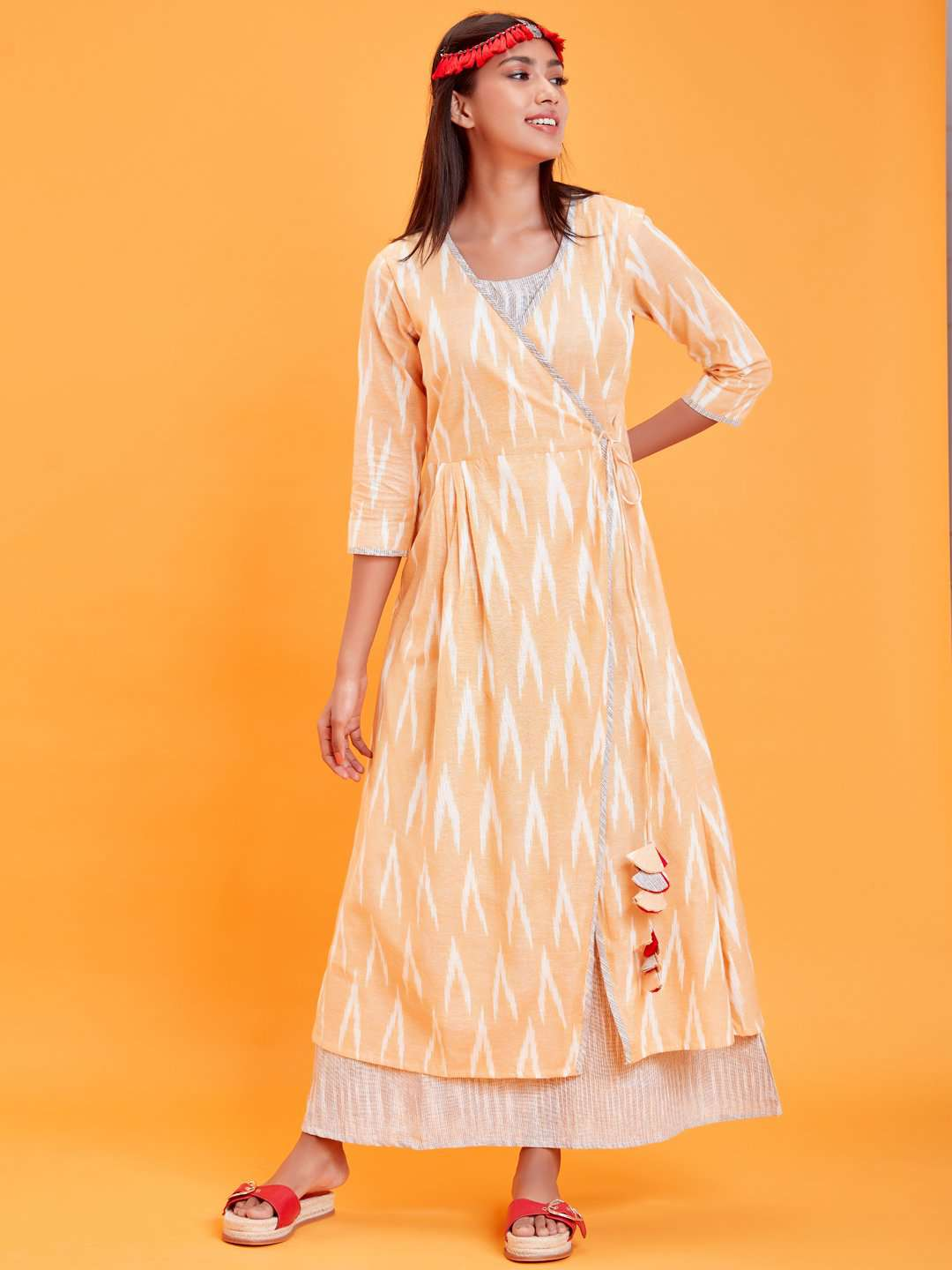 Front Side Yellow Ikat Printed Cotton Weave Dress
