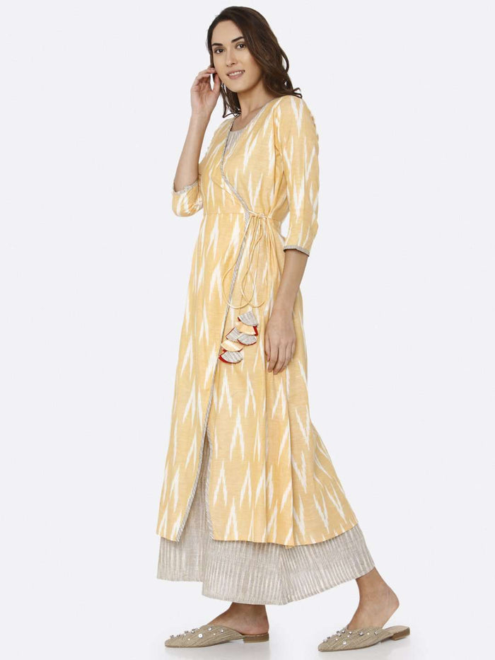 Left Side Yellow Ikat Printed Cotton Weave Dress
