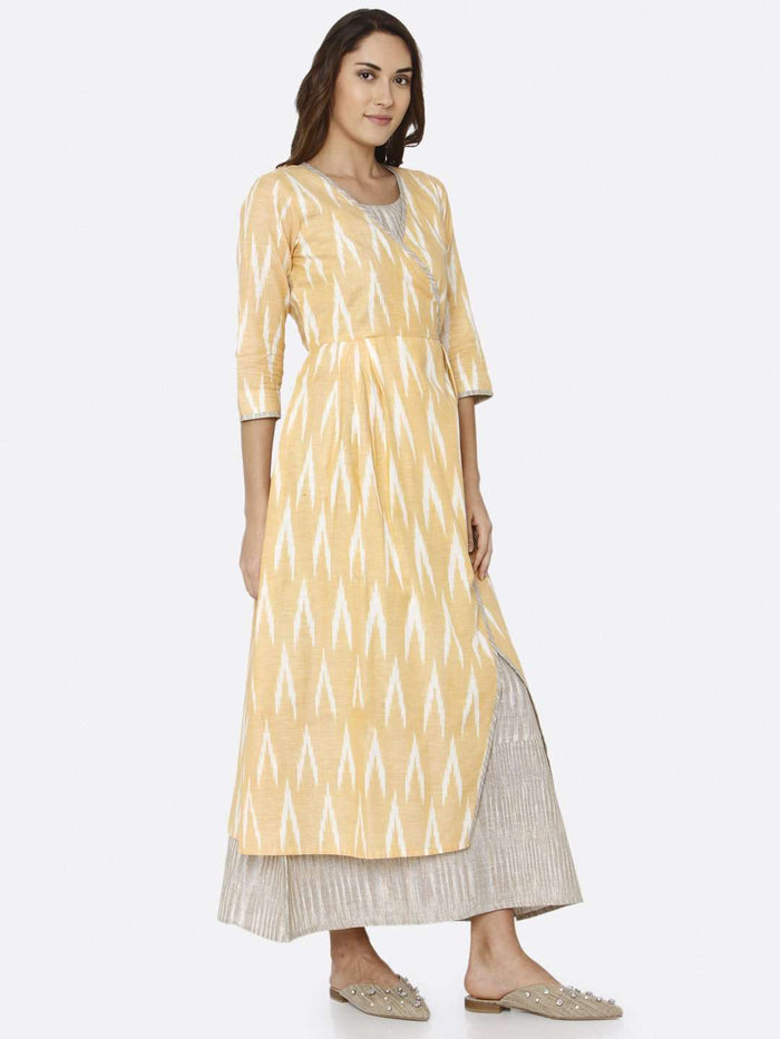 Right Side Yellow Ikat Printed Cotton Weave Dress