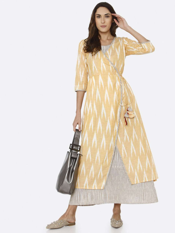 Casual Yellow Ikat Printed Cotton Weave Dress