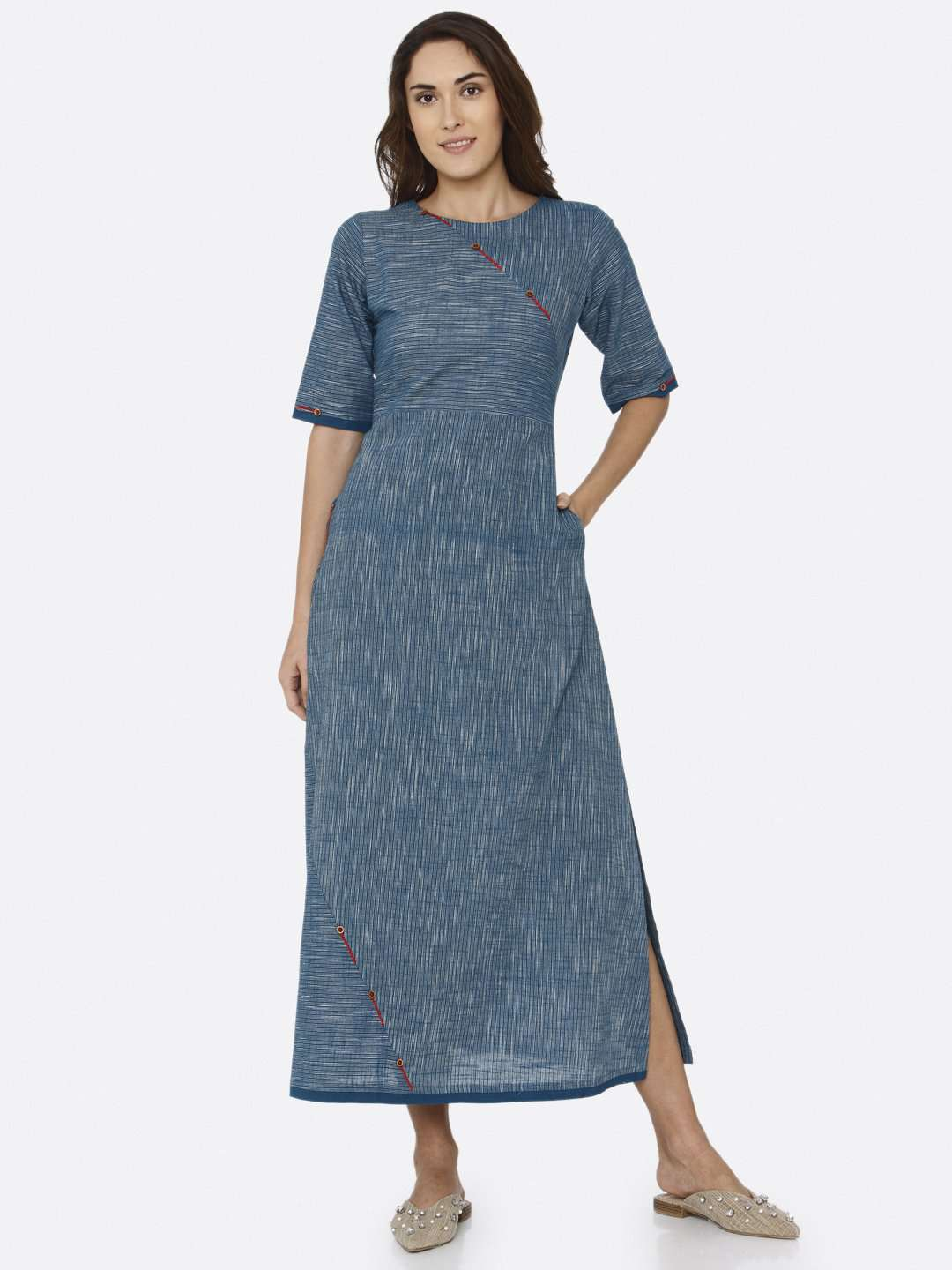 Front Side Blue Solid Cotton A-Line Dress