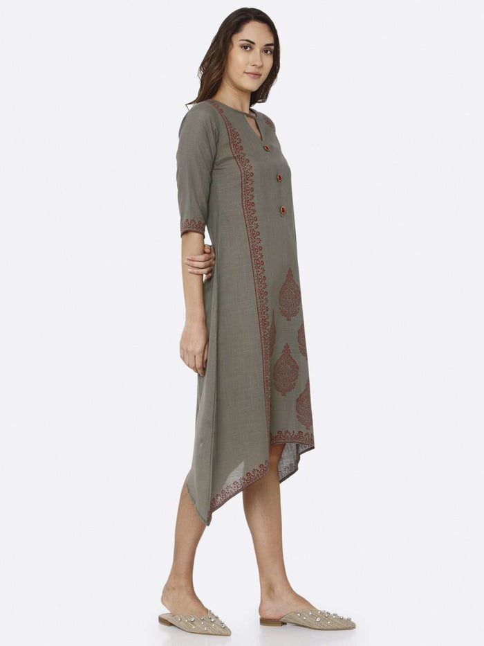 Right Side Printed Rayon A-Line Dress With Grey Color