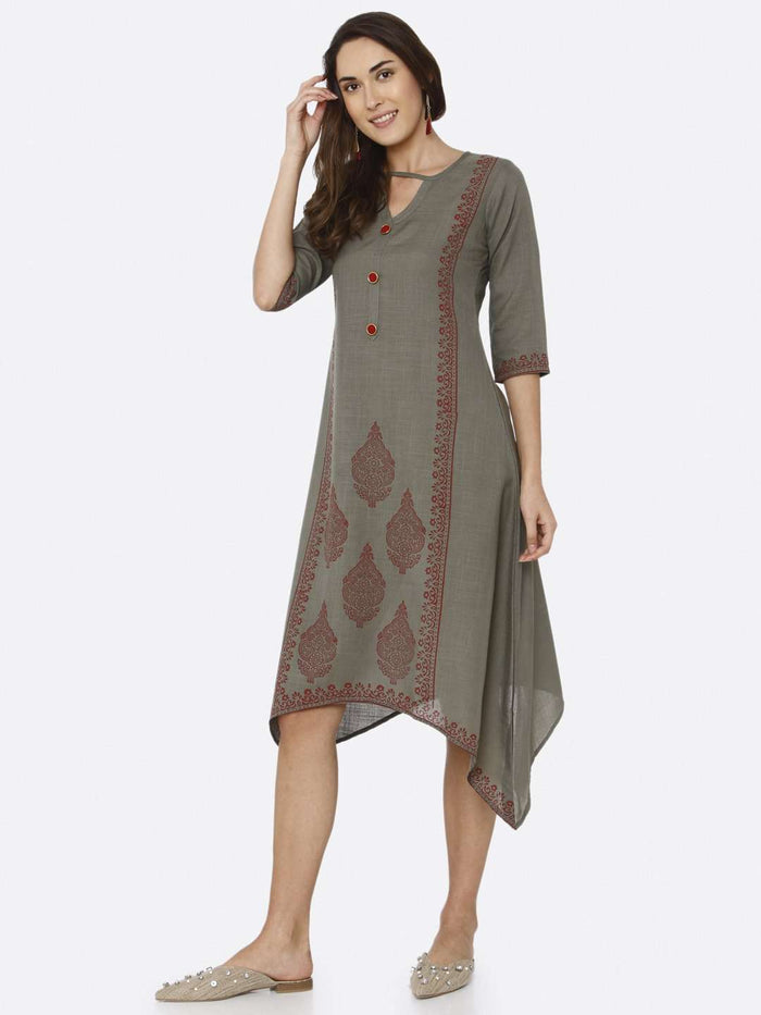 Front Side Grey Printed Rayon A-Line Dress