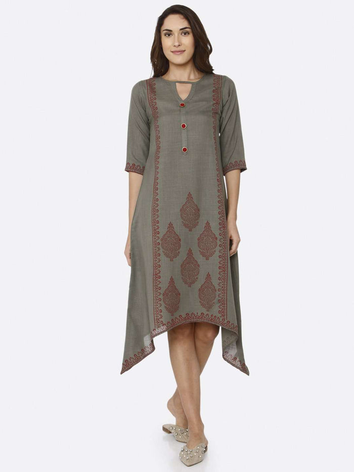 Front Side Printed Rayon A-Line Dress With Grey Color