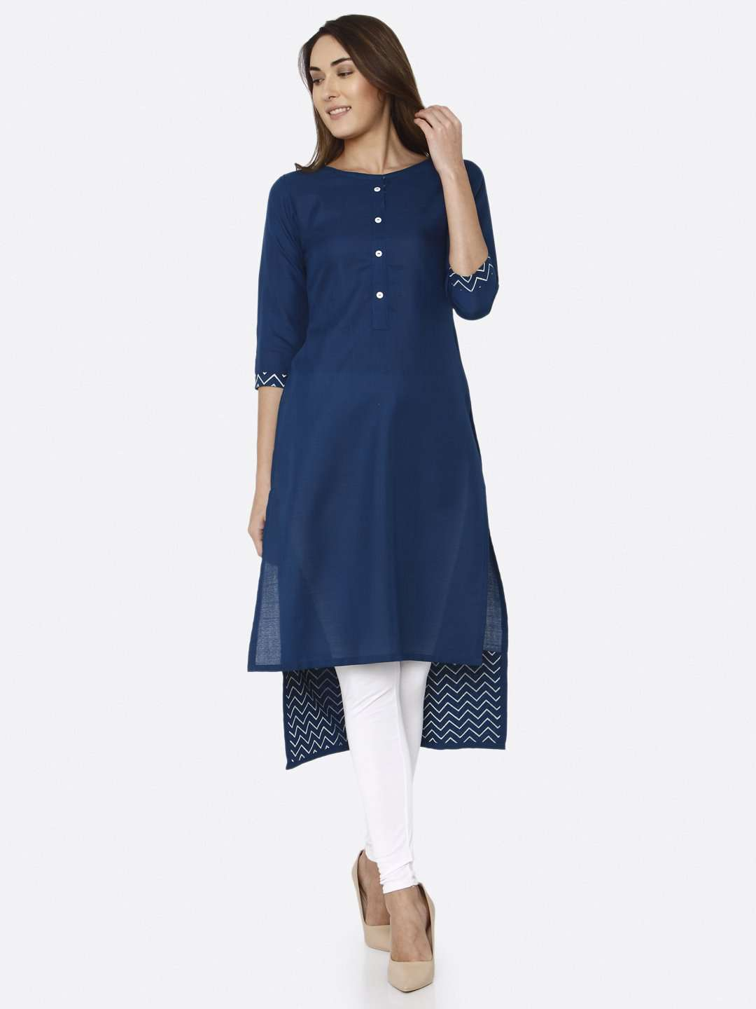 Front Side Blue Solid Cotton Straight Kurti With White Palazzo Pant
