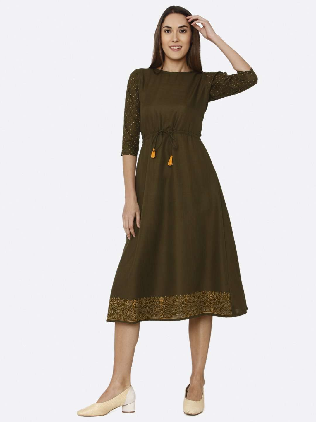 Front Side Brown Printed Cotton A-Line Dress