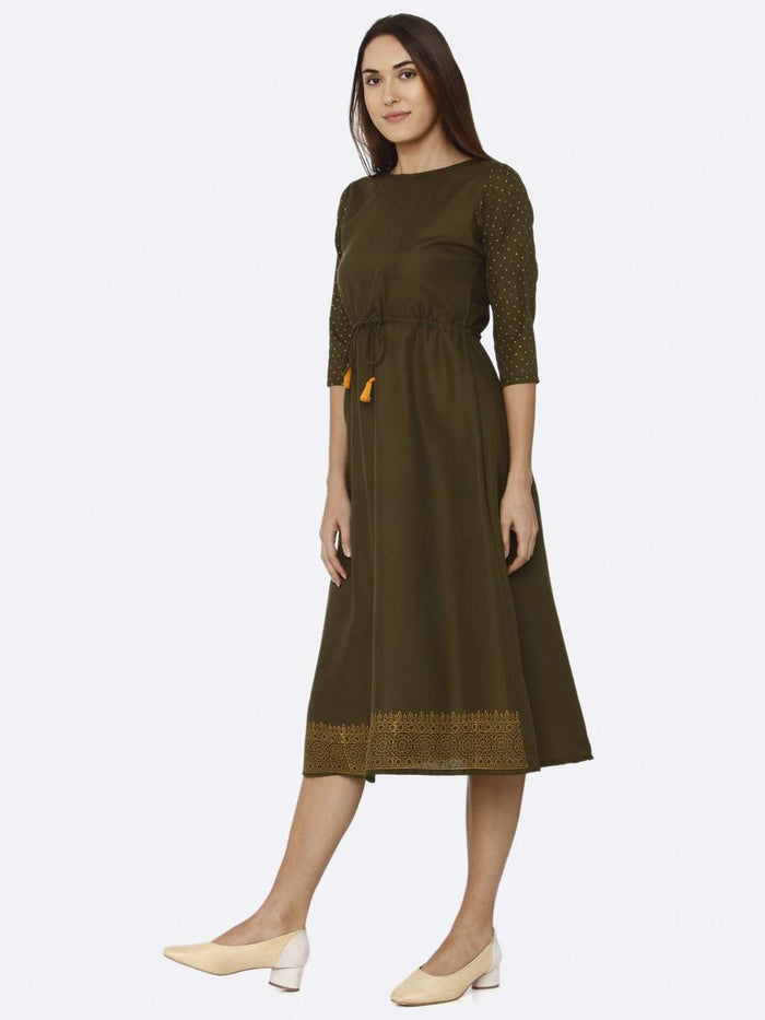 Left Side Brown Printed Cotton A-Line Dress
