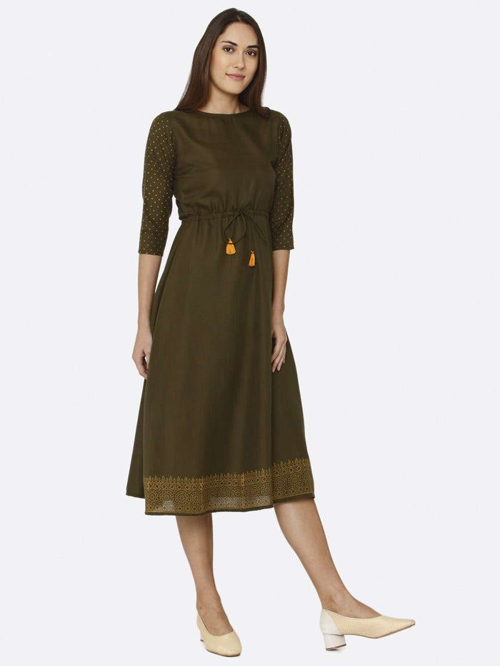 Right Side Brown Printed Cotton A-Line Dress