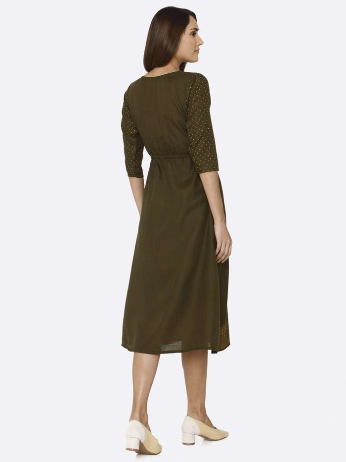 Back Side Brown Printed Cotton A-Line Dress