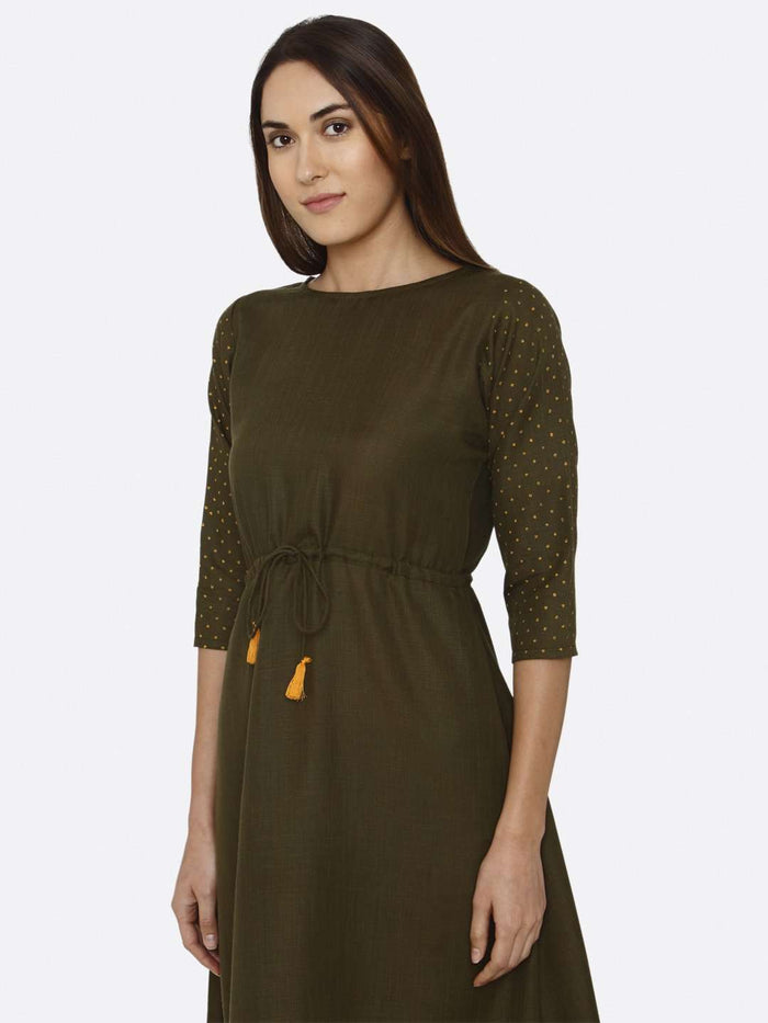 Left Side Printed Cotton A-Line Dress With Brown Color