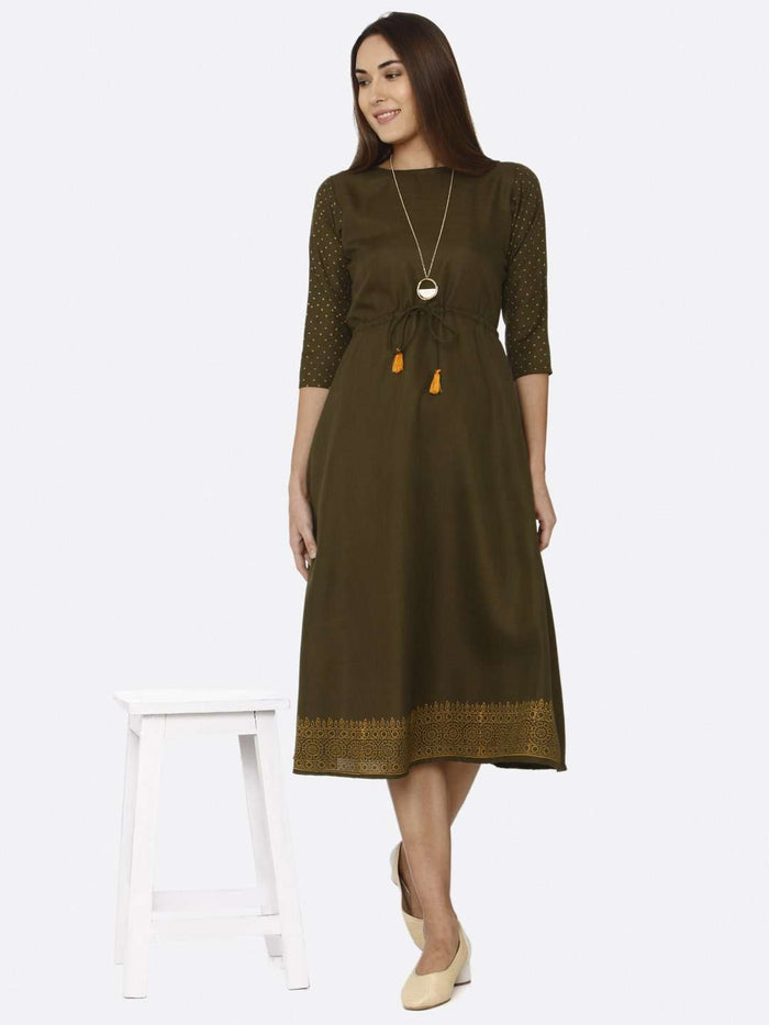 Front Side Casual Brown Printed Cotton A-Line Dress