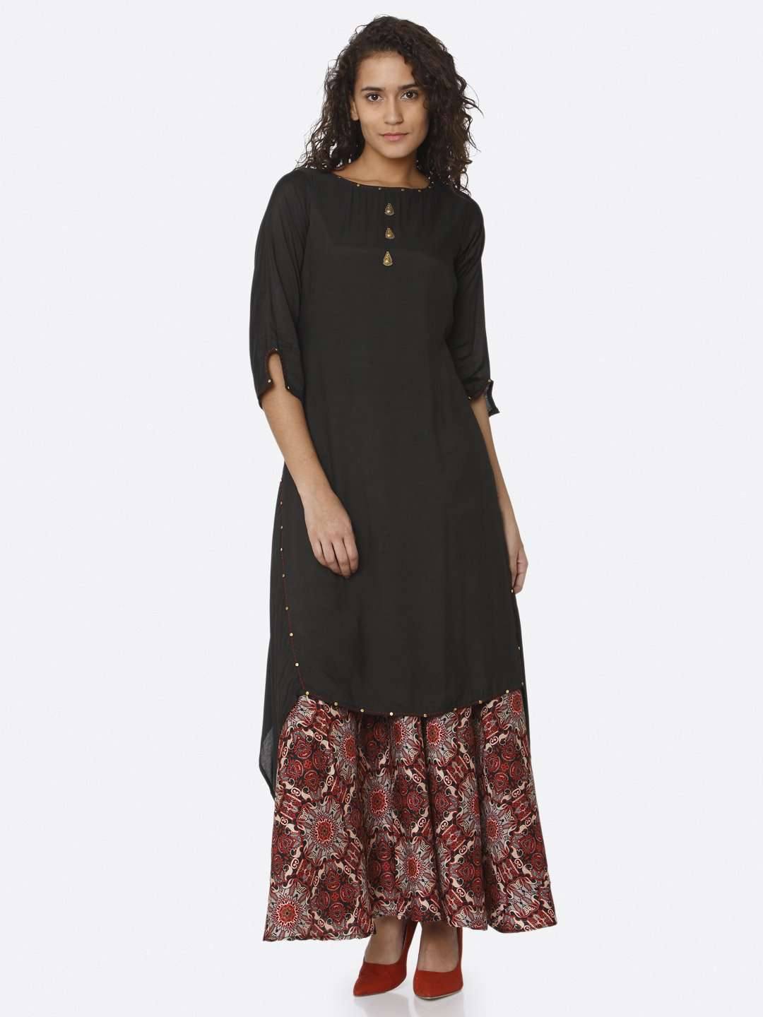 Front Side Black Plain Rayon Modal Satin Dress