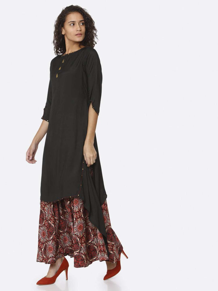 Left Side Black Plain Rayon Modal Satin Dress