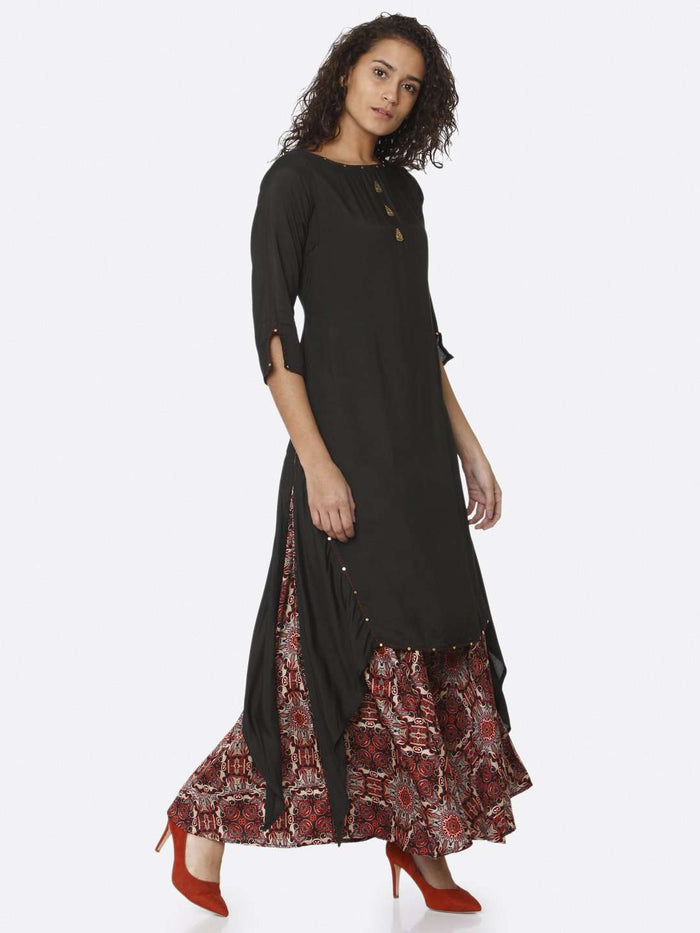 Right Side Black Plain Rayon Modal Satin Dress