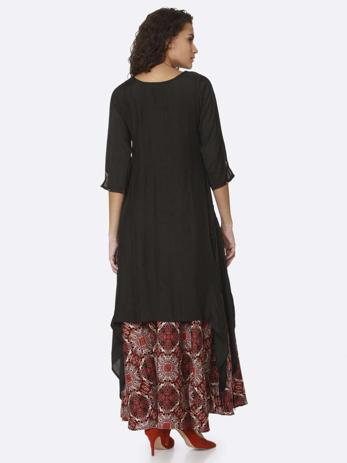 Back Side Black Plain Rayon Modal Satin Dress