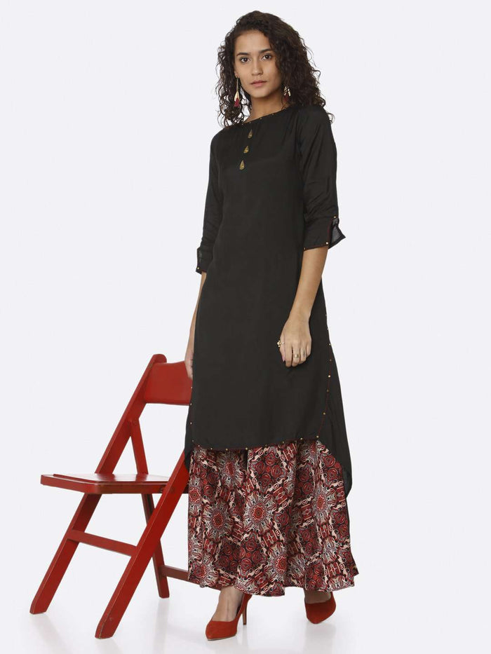 Casual Black Plain Rayon Modal Satin Dress