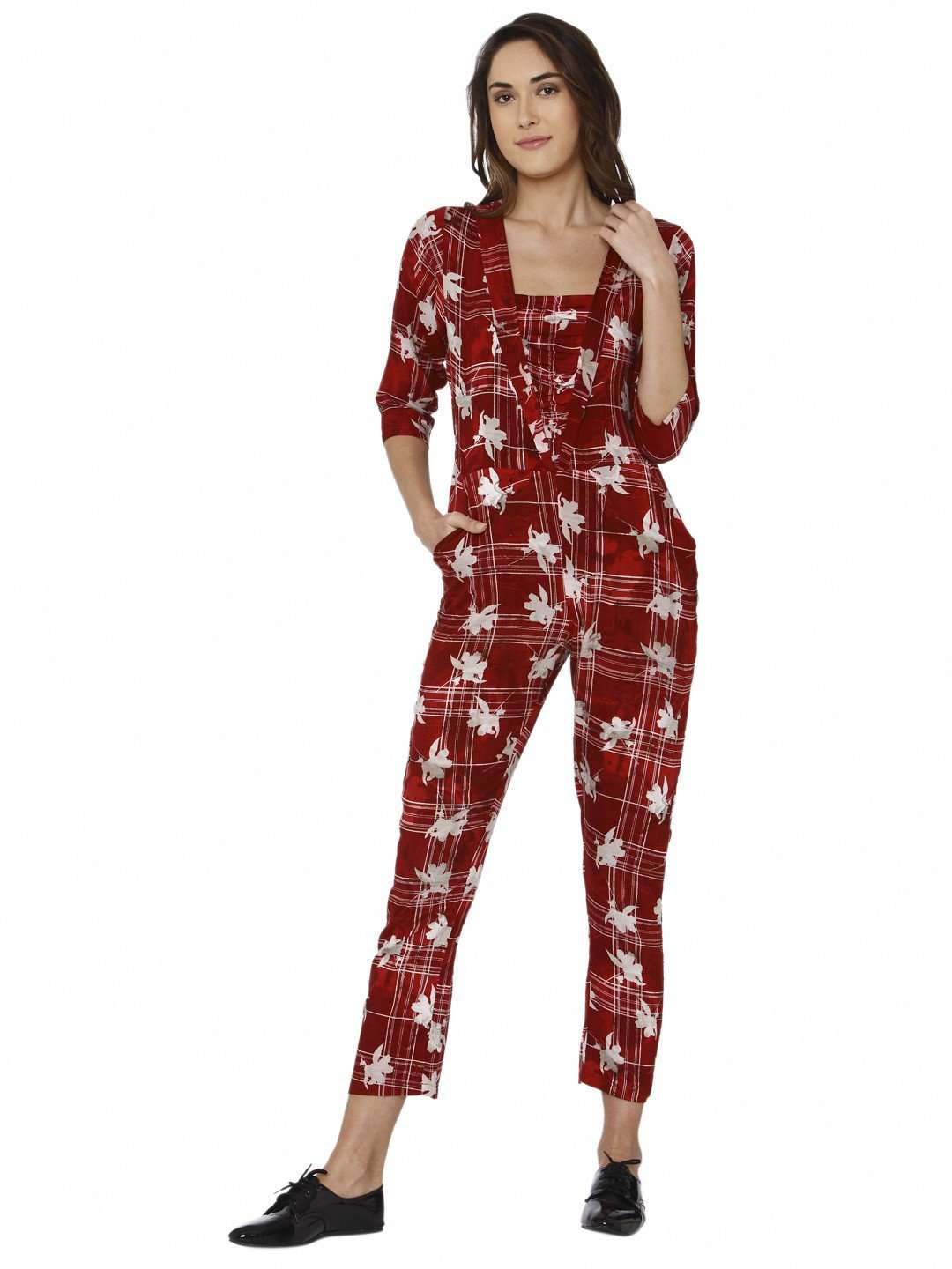 Front Side Red Printed Rayon Jumpsuit