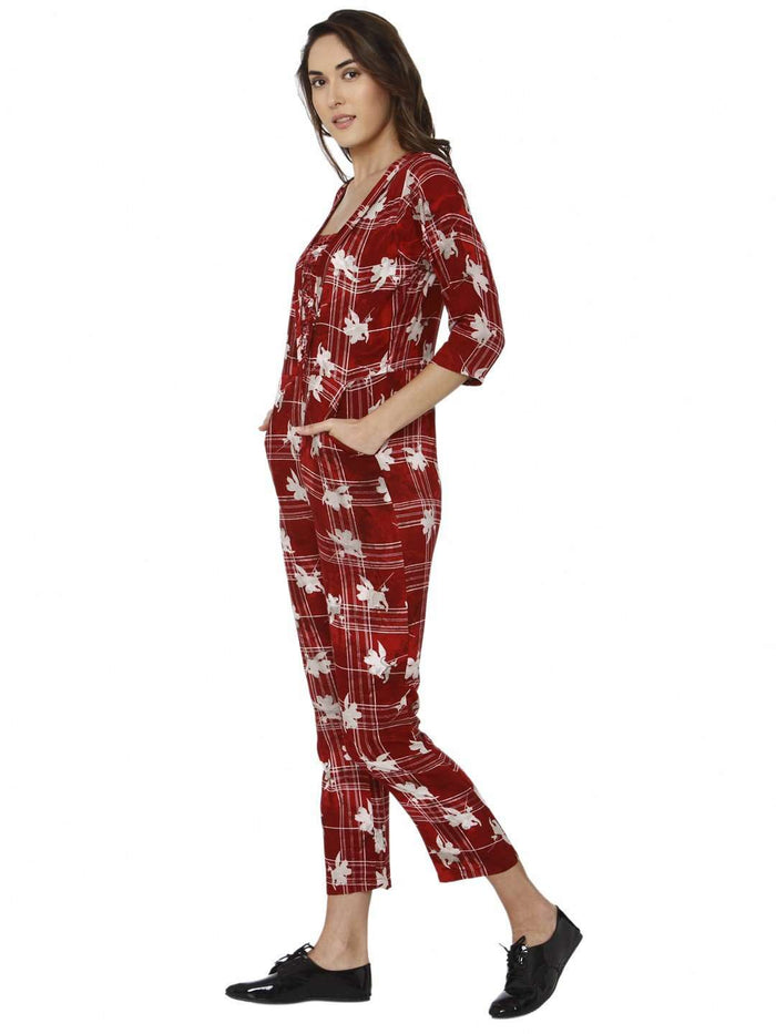 Left Side Red Printed Rayon Jumpsuit