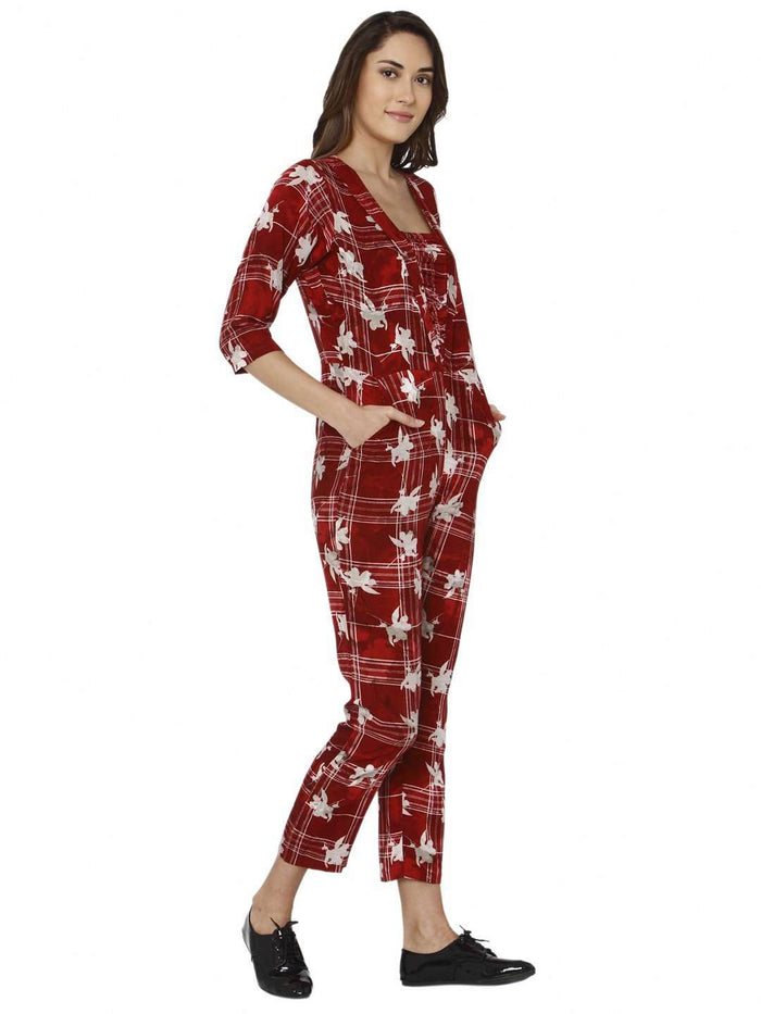 Right Side Red Printed Rayon Jumpsuit