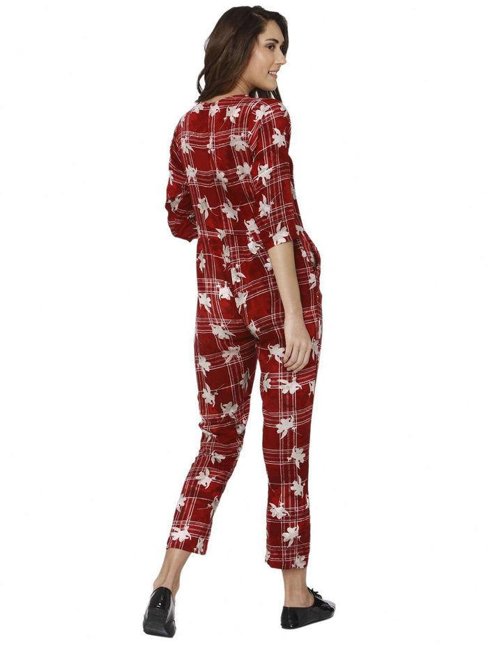 Back Side Red Printed Rayon Jumpsuit
