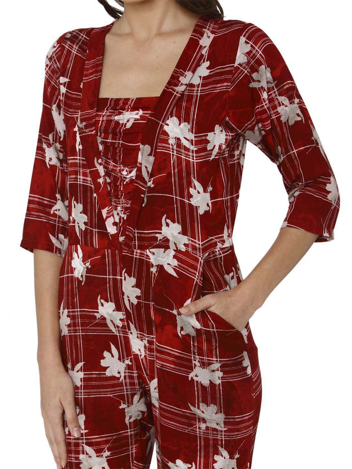 Front Side Printed Rayon Jumpsuit With Red Color