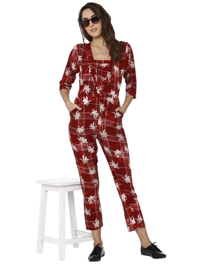Casual Wear Red Printed Rayon Jumpsuit