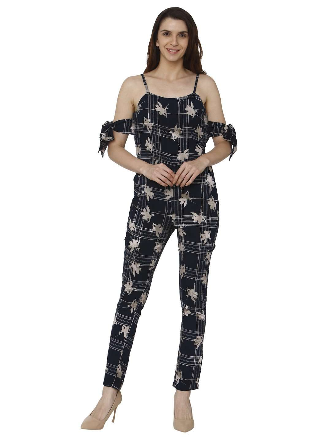 Front Side Navy Blue Printed Rayon Jumpsuit