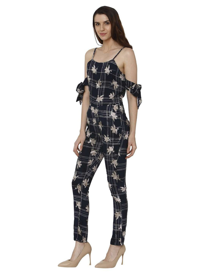 Left Side Navy Blue Printed Rayon Jumpsuit