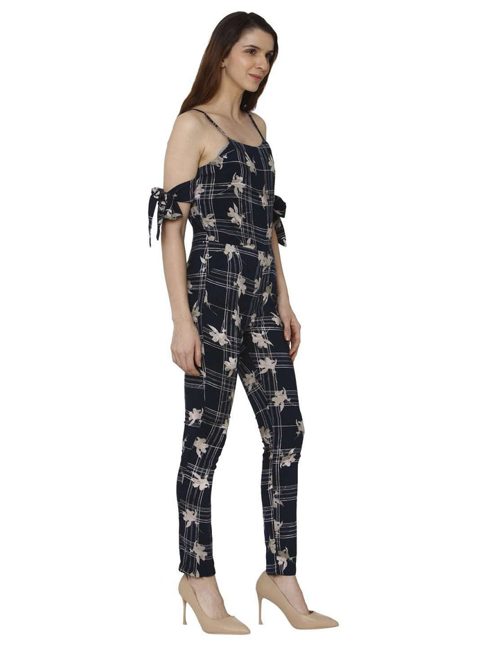 Right Side Navy Blue Printed Rayon Jumpsuit