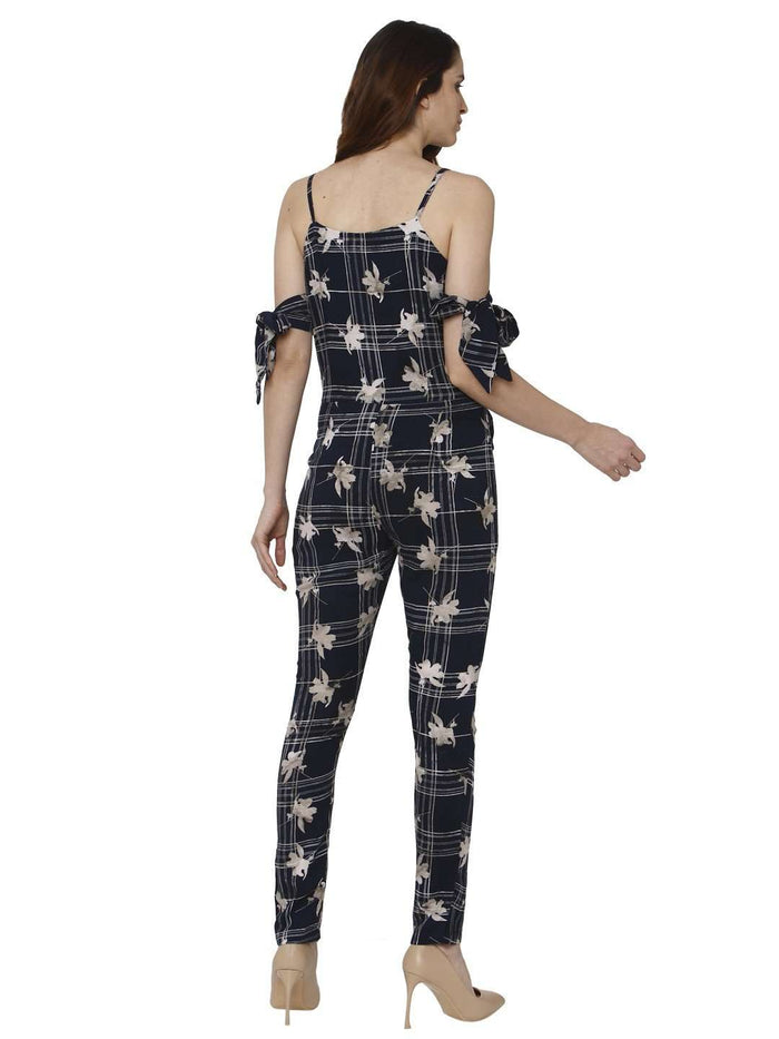 Back Side Navy Blue Printed Rayon Jumpsuit