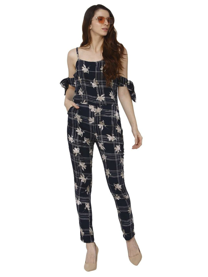 Casual Wear Navy Blue Printed Rayon Jumpsuit