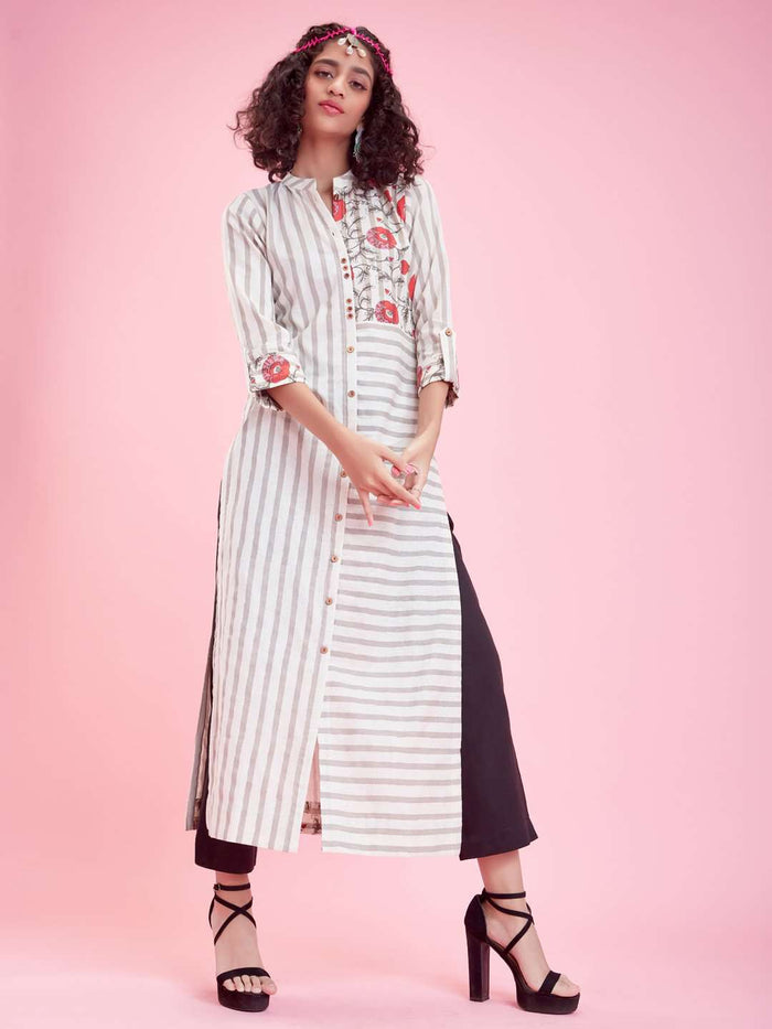 Front Side Off White Printed Cotton Kurti With Black Palazzo Pant