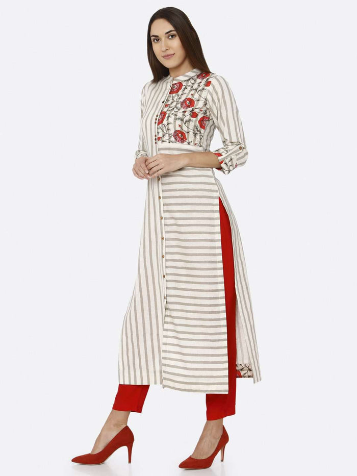 Left Side Off White Printed Cotton Kurti With Red Palazzo Pant