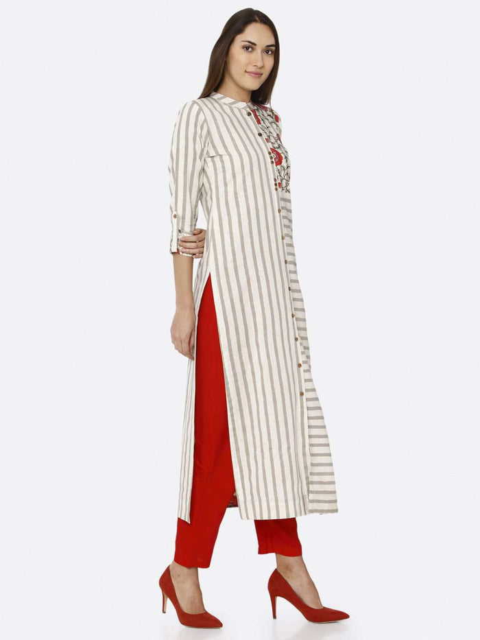 Right Side Off White Printed Cotton Kurti With Red Palazzo Pant