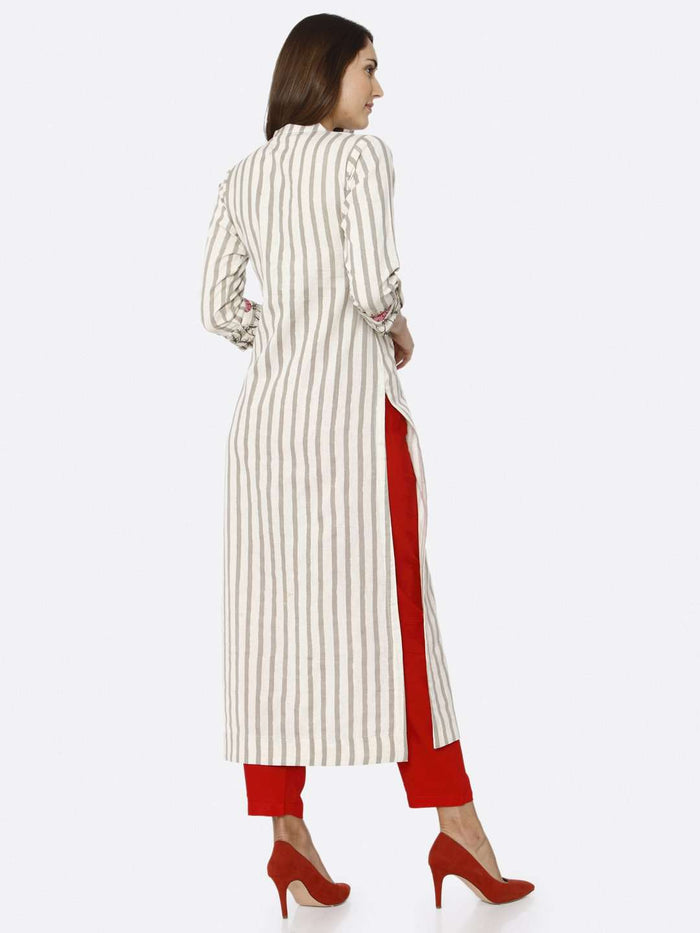 Back Right Side Off White Printed Cotton Kurti With Red palazzo Pant