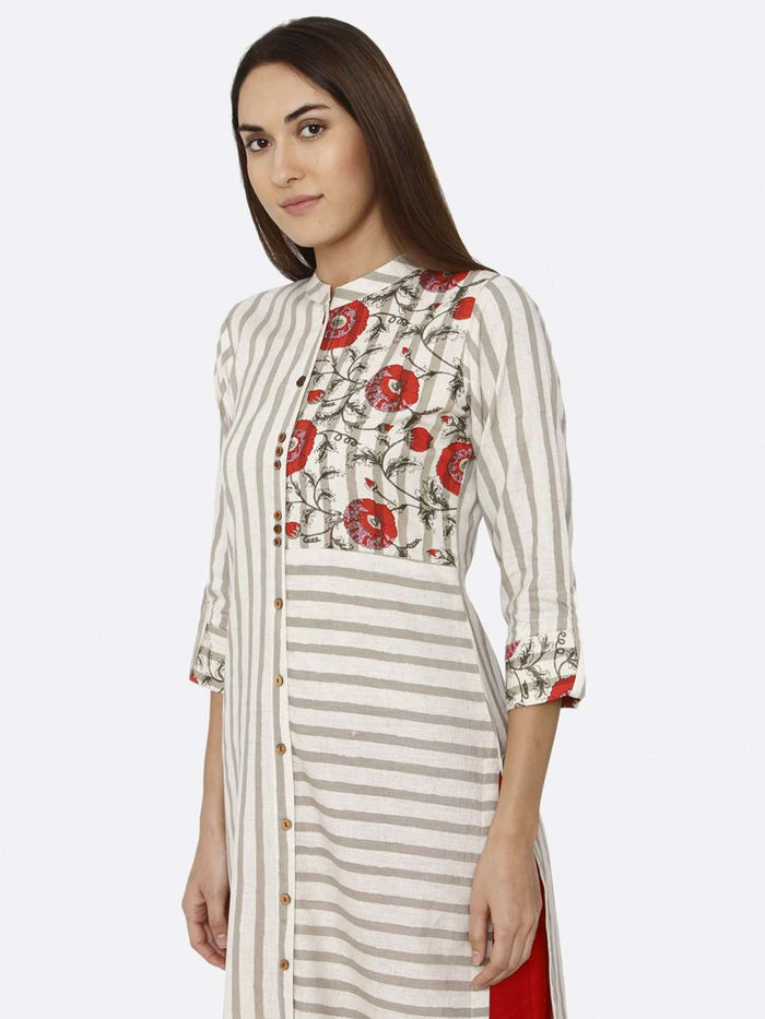 Front Side Off White Printed Cotton Kurti