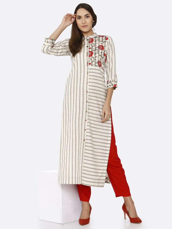 Front Side Casual Off White Printed Cotton Kurti