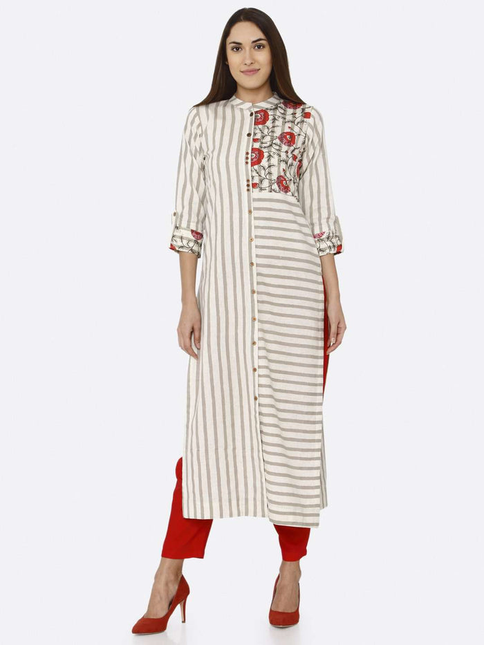 Front Side Off White Printed Cotton Kurti With Red Palazzo Pant