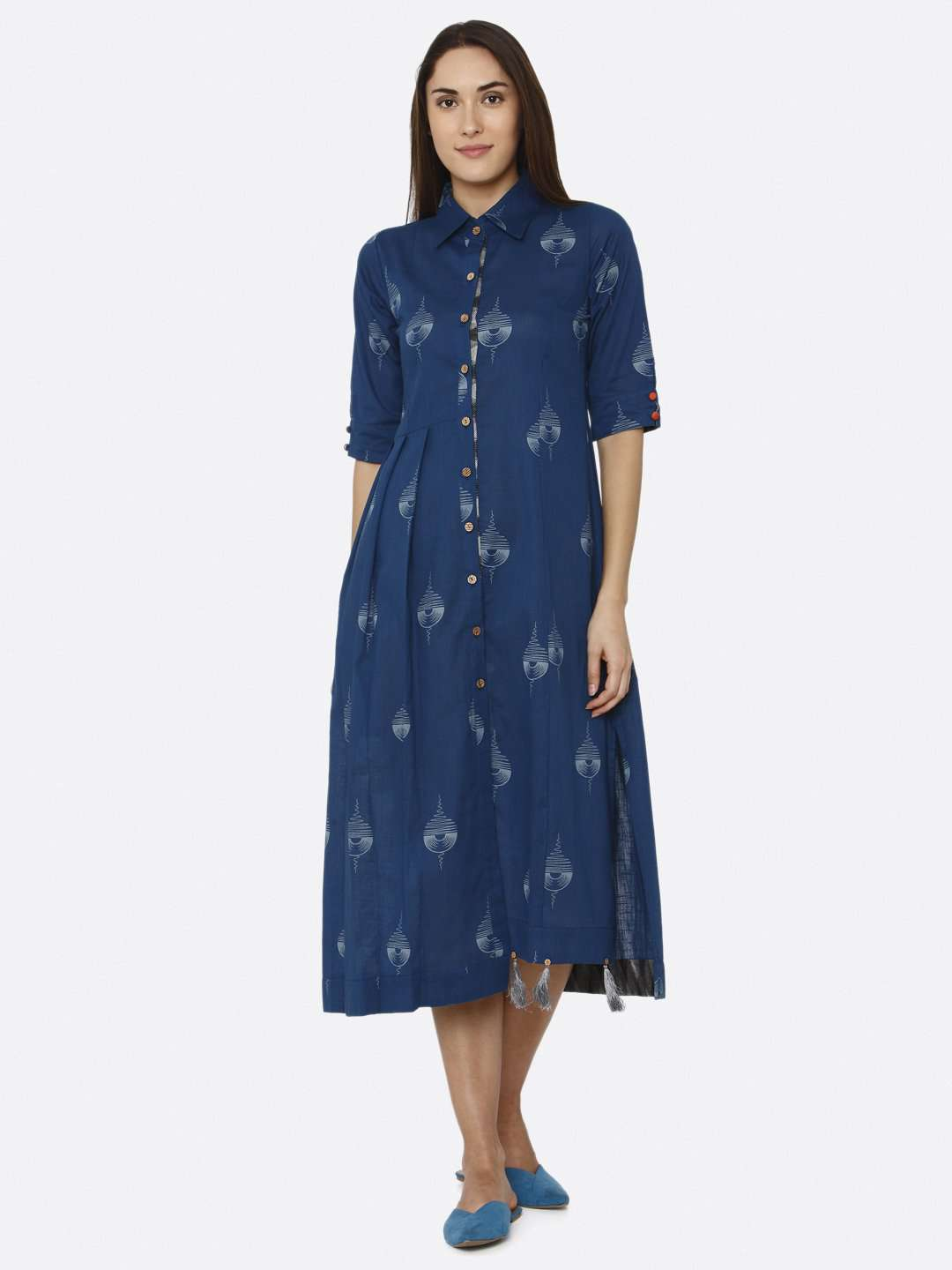 Front Side Blue Printed Cotton A-Line Dress